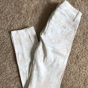 JOLT White Floral Skinny Jeans